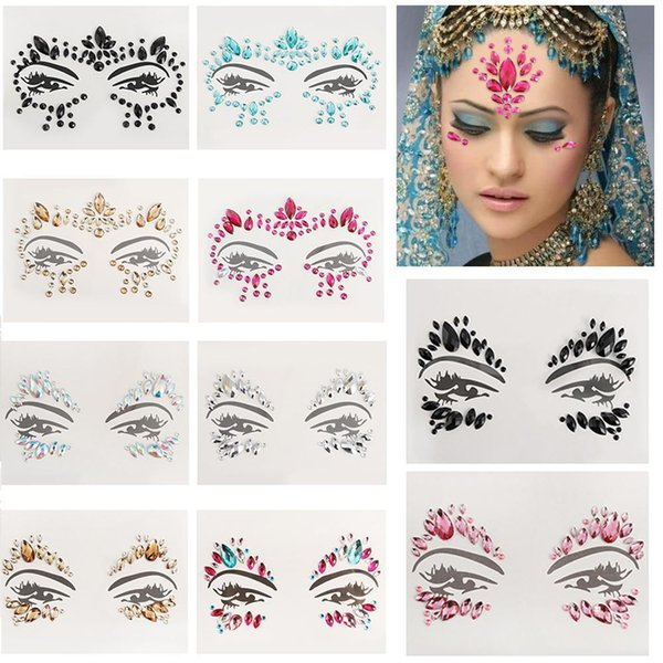 Face Gems Rhinestone Temporary Tattoo Jewels Festival Party Body Glitter Stickers Makeup Temporary Tattoos Stickers Bikini Decoration