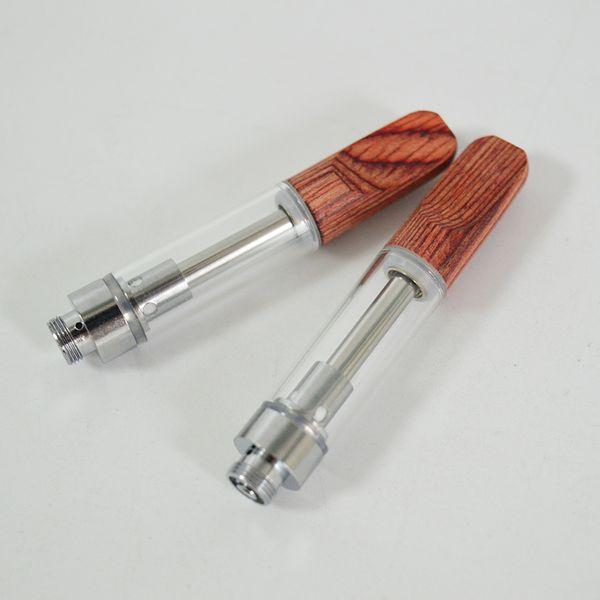 Vaporizers TH205 Vape Cartridges Zerstäuber Holztropfspitze 1.0ml Keramikspule 2.0mm Dickes Öl Leerer Glastank E Zigarettenpackung