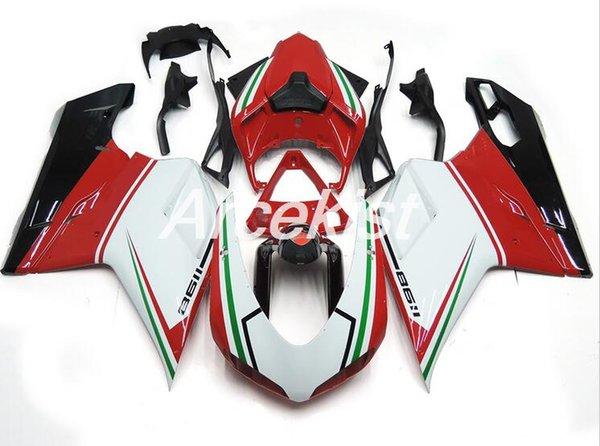 Nuevo ABS Molde motocicleta Carenados de plástico aptos para DUCATI 848 1098 1198 07 08 09 10 11 12 2007-2012 Juego de carrocería de carenado personalizado rojo blanco fresco