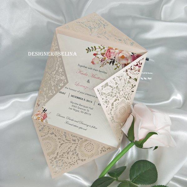 Affordable Light Pink Shimmer Laser Cut Invitation Card For Wedding on make your own dress, make your own family, make your own home, make your own save the date, make your own flowers, make your own cake,