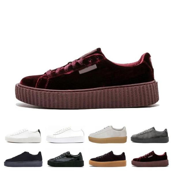 Grande vendita PM Rihanna Fenty Creeper 2019 Platform classico dei pattini casuali del velluto di cuoio incrinata scamosciata Uomini Donne Fashion Sneakers Designer