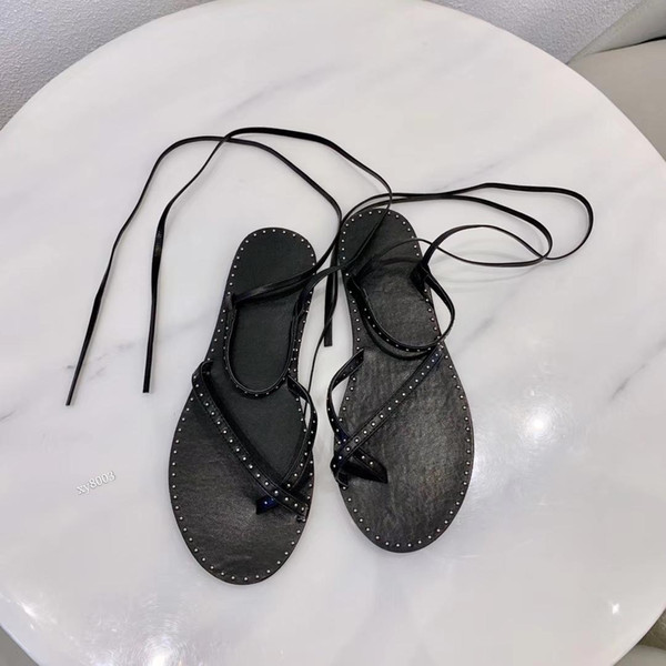 Hot Sale-2019 Women's shoes, new style high quality summer rivet binding sandals, stylish and elegant comfortable flat flip-flops