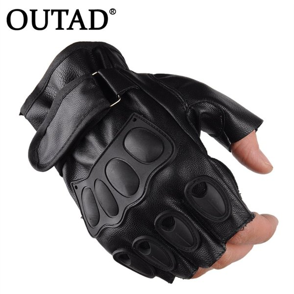 OUTAD PU Leather Half Finger Cycling Gloves Motorcycle Ridding Tactical Military Exercise Training Sports Gloves Drop Ship #299317