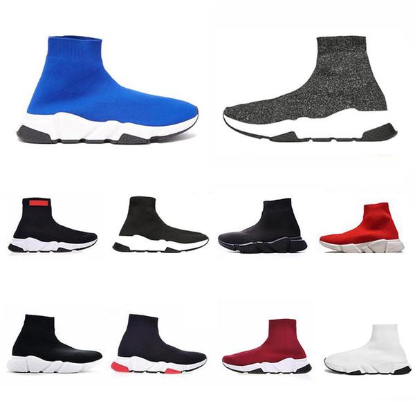 2019 ACE Tasarımcı Rahat Çorap Ayakkabı Hız Trainer Siyah Kırmızı Üçlü Siyah Moda Çorap Sneaker Trainer Rahat Ayakkabılar
