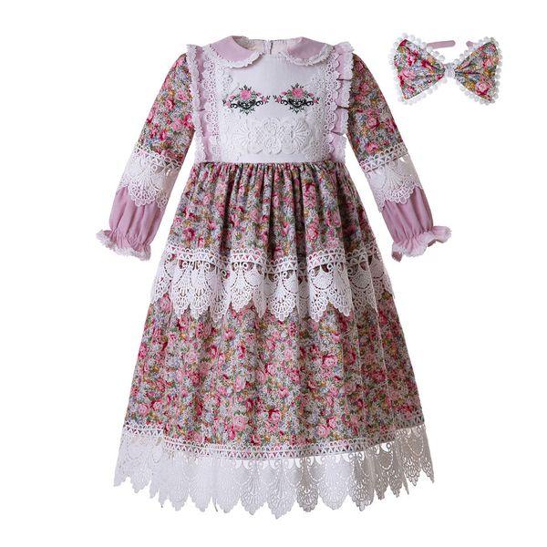 Pettigirl Muslim Doll Collar Long Sleeves Children Clothing Flower Printed Lace Embroidery Kids Designer Girls Dresses G-DMGD112-B467
