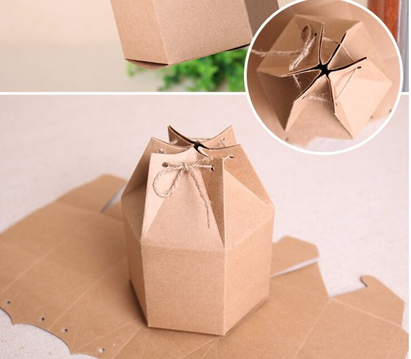 20pcs/lot 2 sizes Small kraft gift cardboard boxes,kraft paper boxes for gift,hexagonal carton paper packaging brown candy boxes