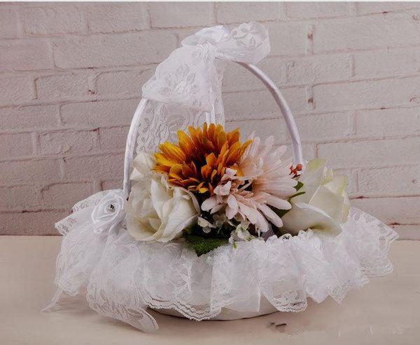 Handgemachte Rose Blumen Spitze Schöne Blumenkörbe Blütenblatt Lagerung Hochzeit Lieferanten Mädchen Hochzeit Blumen Korb Top Verkauf