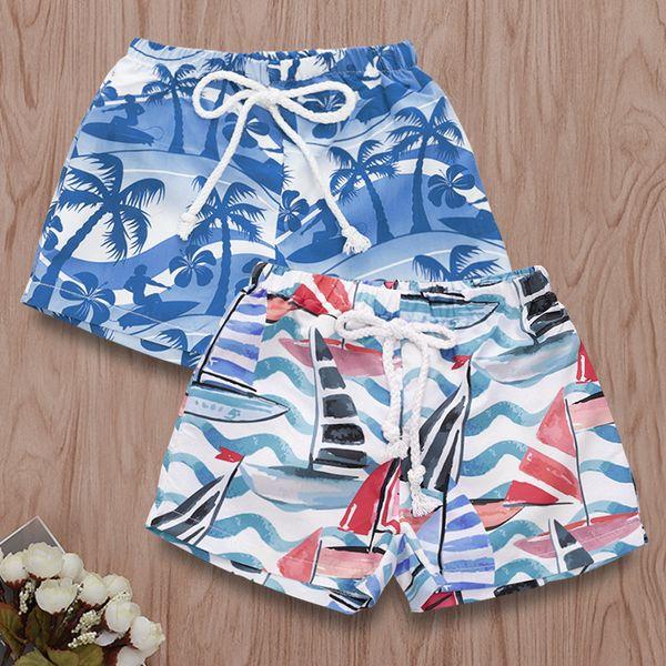 top popular Hawaiian Beach Printed baby boys swimming trucks kids boy shorts pants for swim chiildren bathingsuit 2021