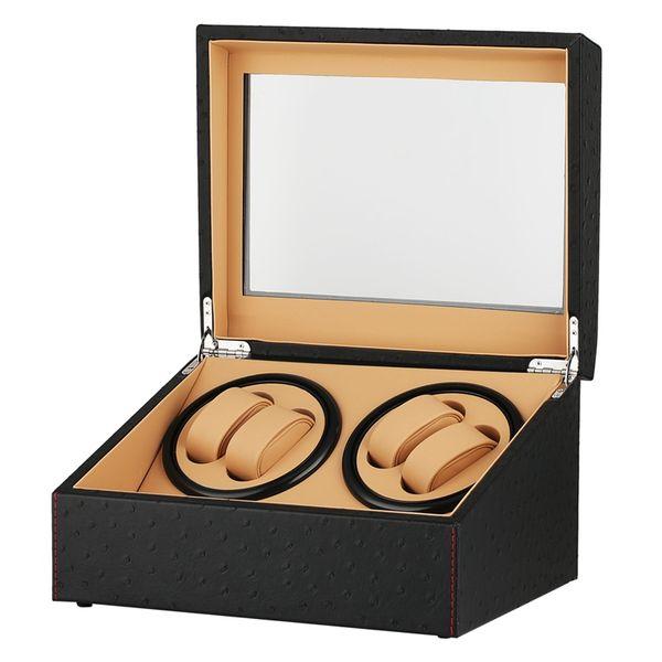 REINO UNIDO Enchufe Mecánico Automático Bobinadoras de Relojes Quiet Motors Almacenamiento Relojes Cajas de Bobinado Negro 4 + 6 Colección Reloj de pulsera Caja de Exhibición