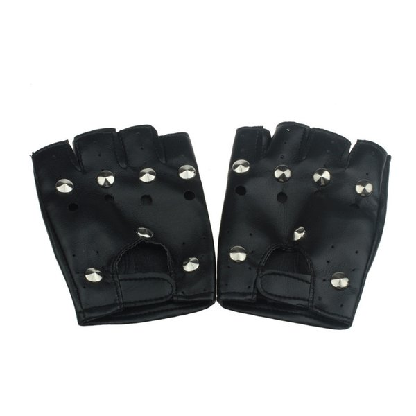 Mens/Women's gloves Theatrical Punk Hip-hop PU Black Half-finger Leather Gloves Round Nail Y50