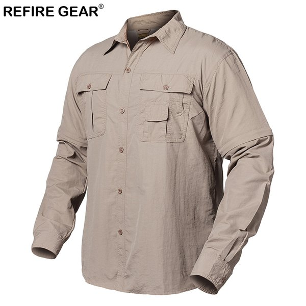 ReFire Gear Summer Outdoor Shirt Men Quick Dry Pockets Camping Shirt Spring Breathable Removable Long Sleeve Hiking Shirts