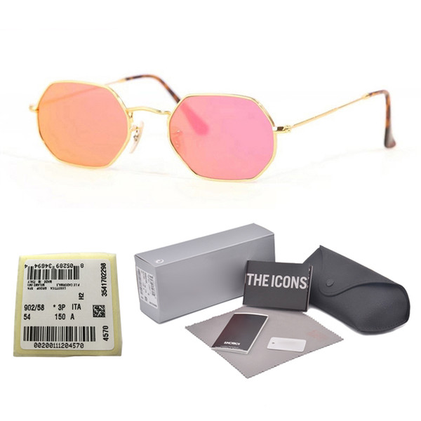 High quality Polygon Sunglasses women men Brand Design Fashion Mirror glass lens Vintage Sport Driving Sun glasses With free cases and label