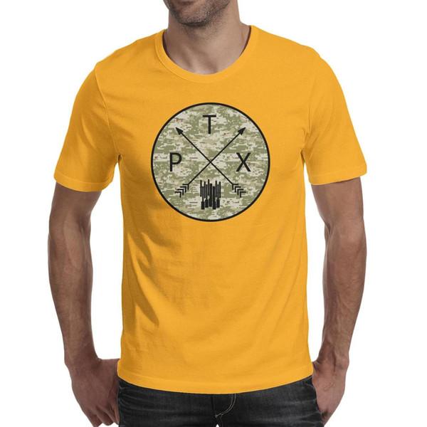 Мужские футболки Pentatonix PTX Acapella Камуфляж желтая футболка с рисунком О-Образным вырезом Удивительная футболка Футболки хлопкового качества с коротким рукавом T