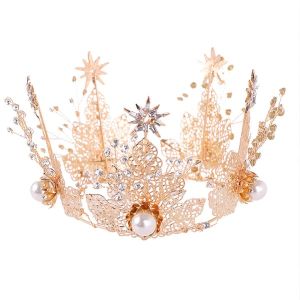 Women Simulation Pearl Full Round Hair Jewelry Girls Gold Color Pageant Crowns Tiaras Ladies Delicate Art Photo Hair Accessories