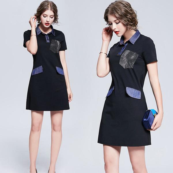 Short Sleeve Girl Dress Polo T-shirt Dress for Women Fashion Denim Patchwork Design Business Dress Lapel Office Dresses