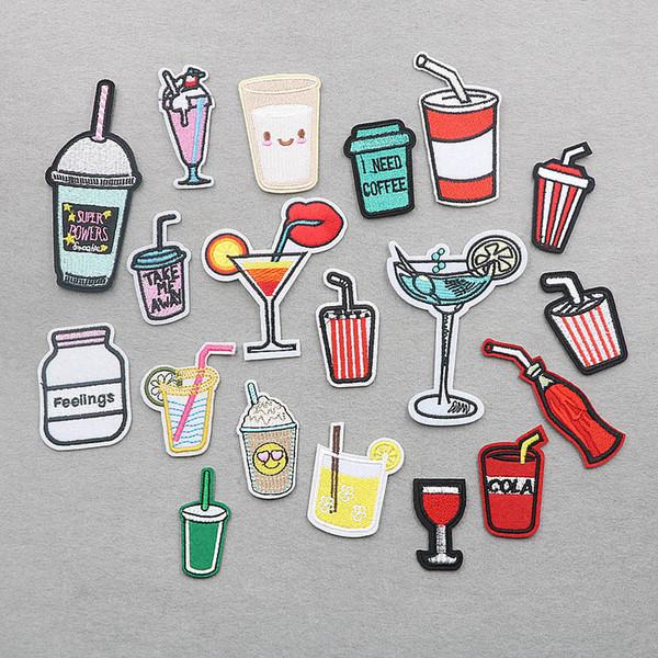 2 cocktails Motif fer sur ou coudre sur patch Appliques broderie