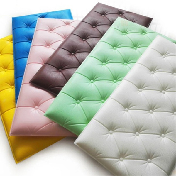 3D Faux Leather Foam Wall Sticker Waterproof Self Adhesive Wallpaper For Living Room Bedroom Kids Room Nursery Home Decor
