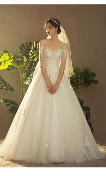 2019 new wedding dress round neck wedding dress trailing lace wedding dress Beaded lace applique Long sleeved backless