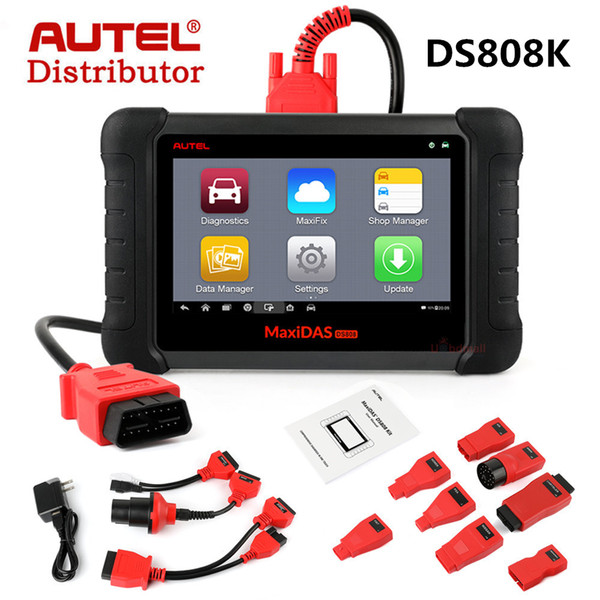 AUTEL MaxiDAS DS808 KIT DS808K Tablet Diagnostic Tool Fault Code Reader Full Set Support Injector & Key Coding Update Online