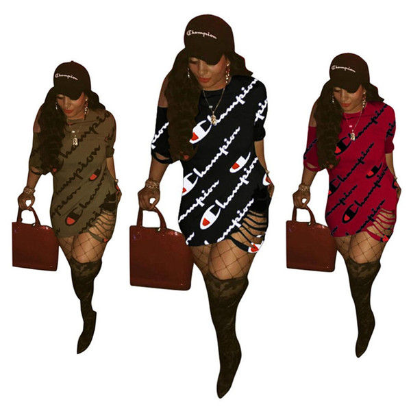 Champions femmes décontracté robes de mode robes élégantes creux creux décolleté ras du cou mini robes 1/2 manche gaine colonne vêtements d'été 187