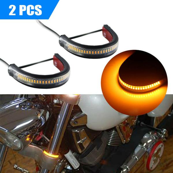 2X Universal Super Bright LED 12V Garfo Turn Signal Strip luzes para motocicleta