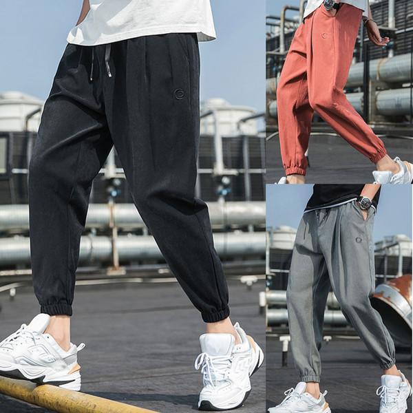 Mode Casual hommes déliés Pantalons Pure Color Hip Hop Style de Pantalons cheville longueur Sarouel Streetwear Sweatpants 8.29