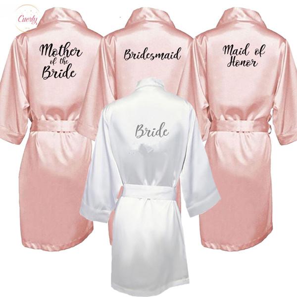 New Bride Bridesmaid Robe With White Black Letters Mother Sister Of The Bride Gift Bathrobe Kimono Satin Robes