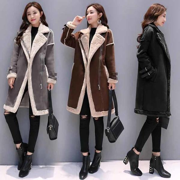Acheter Nouveau Femmes Faux Cuir Agneaux Manteau Femme Long Et Épais Chaud En Peau De Mouton Manteaux En Daim Veste En Cuir Automne Hiver Vêtement
