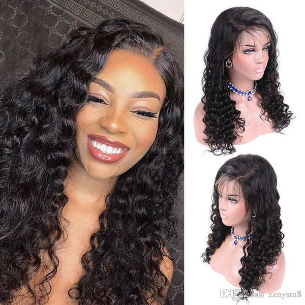 Перуанский волос парики Сыпучих глубокой волны волосы Парики Pre щипкового фронт шнурок С knhj21 младенцем волосами