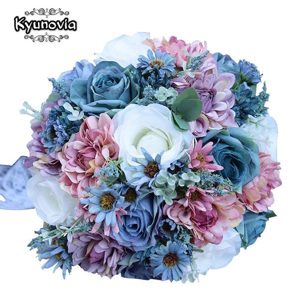 vente en gros vintage bleu soie fleurs sauvages bouquet pour mariage couleur unie bouquet de mariée centres de mariage décoration de la maison