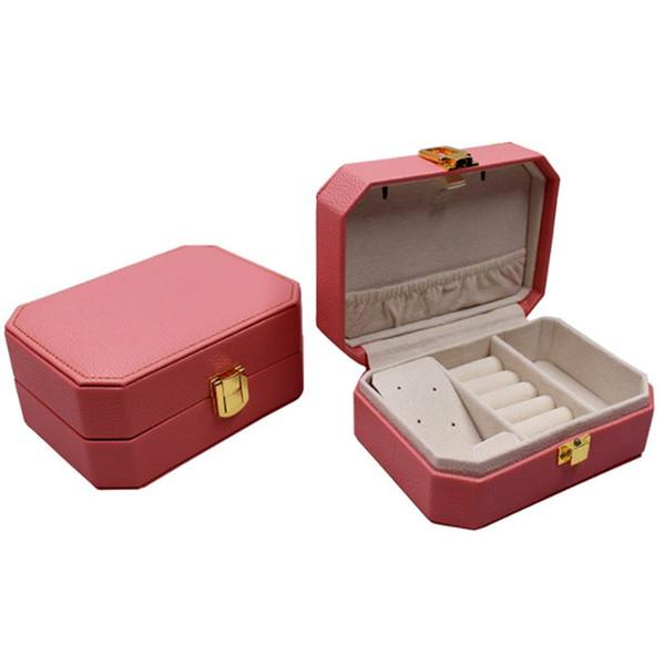 Lady PU Caixa De Jóias De Couro Caixa De Armazenamento De Exibição De Anel Caso Organizador De Jóias Portátil para Colares De Embalagem De Ouro Fivela