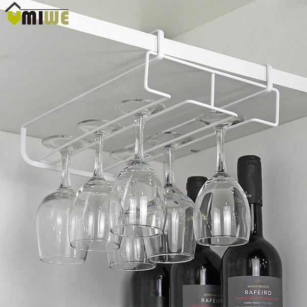 rack bar Under Cabinet Hanging Wine Cup Goblet Stainless Steel Glass Holder Wine Rack Storage Organizer Champagne Glass Holder Racks Bar