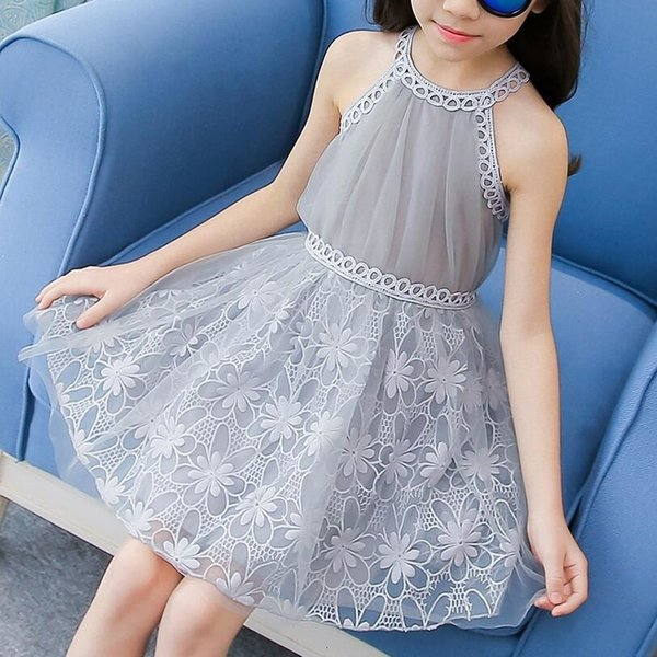 Girls New Cotton Summer Floral Dress Kids Sun Party Sleeveless Dresses Age 2-10Y