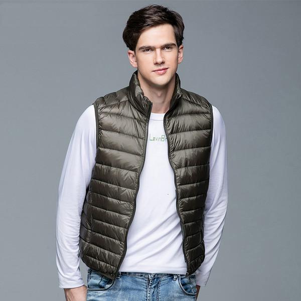 2019 новых людей пальто зимы 90% белая утка вниз жилет Портативный Ultra Light безрукавка Портативный Жилет для мужчин SH190916