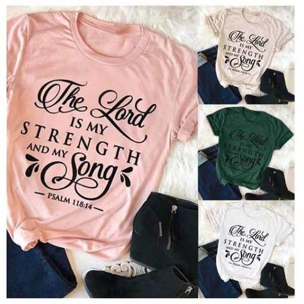 Acheter Le Seigneur Est Ma Force Et Ma Chemise Musicale Christian Des Années 90 De La Mode Féminine Drôle Slogan Vintage Tees Graphiques Tumblr Art