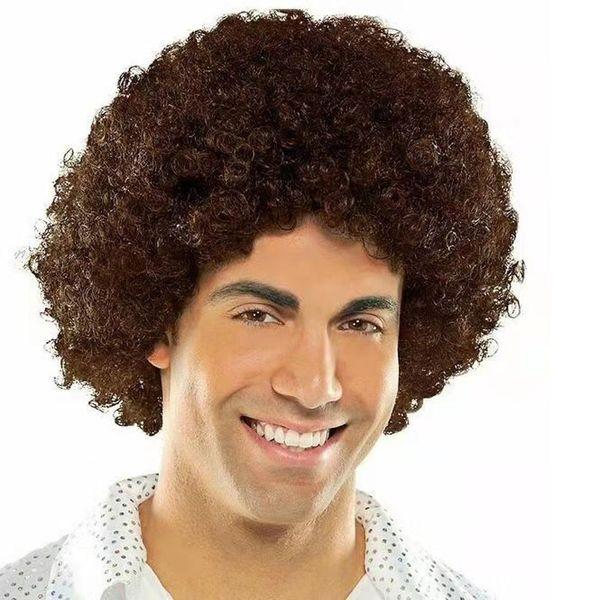 Afro Puffy синтетический парик коротких волос Natural Black жаропрочных Пушистый парик волос Unisex Мужчины Женщины Cosplay Anime Fancy Смешные Hip Hop Party