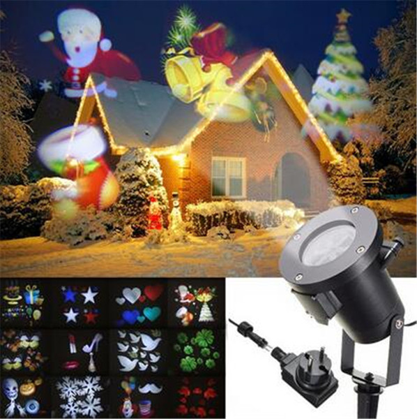 Holiday Decoration Waterproof Outdoor LED Stage Lights 12Pattern Christmas Laser Snowflake Projector lamp Home Garden Star Light