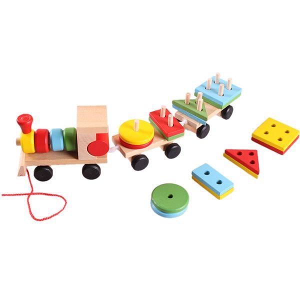 Regalos Para Ninos Pequenos.Compre Modelos De Construccion Juguete Tren Bloques De Construccion Educativos Ninos Bebe Madera Solido Apilamiento Bloque De Juguete Para Ninos