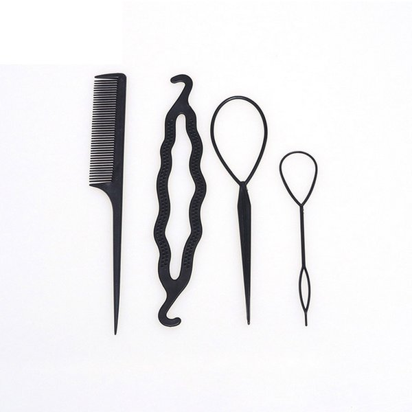 Fashion Combo Hair Disk Styling Tools Donut Bun Maker Hairdressing Accessories For Girls Black Twist Braiding Tool 4pcs