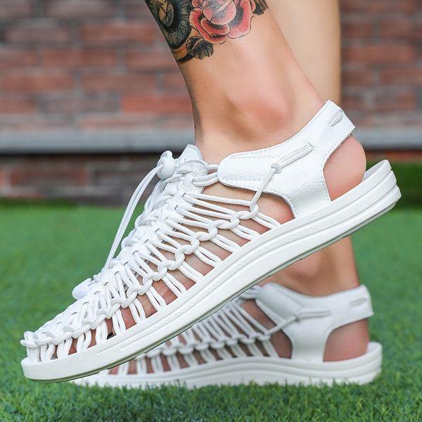 Para hombre hecho a mano sandalias verano hombre sandalias playa tejido sandalia hombre casual zapatos de respiración trenzar zapatos para hombre zy221