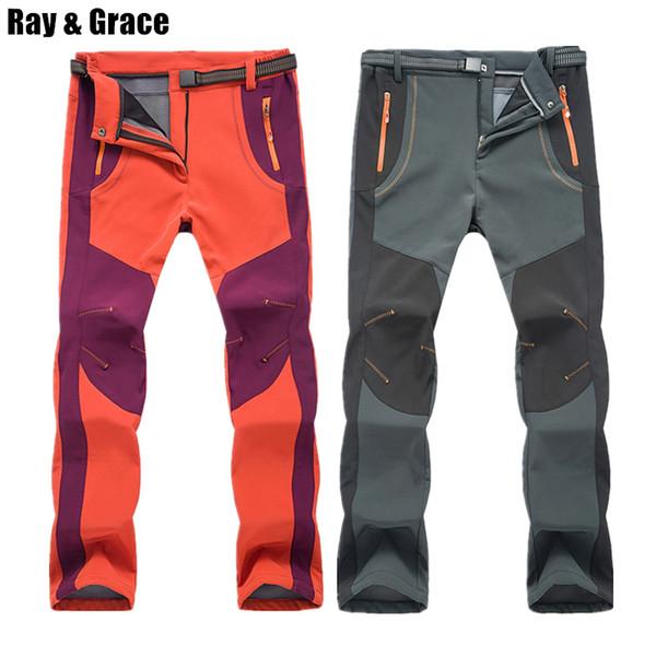 RAY GRACE Hiking Pants Men Softshell Winter Outdoor Waterproof Trekking Camping Trousers Fleece Warm Windproof Ski Sports Pants