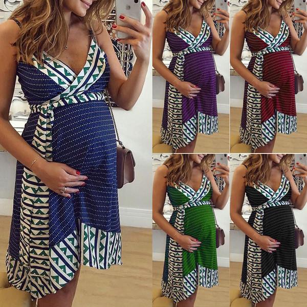 Lady Sleeveless Maternity Clothes Pregnancy Sling Dress V Neck Fashion Knee Length Floral Skirt Print Bohemia Style 27kx O1