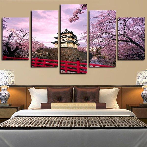 5 шт. жикле холст печатает стены искусства вишни цветет замок и дом Картины Картины для гостиной Спальня домашнего декора