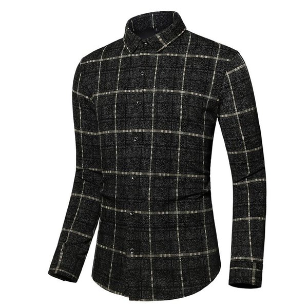 Мужская мода Casual Male Кнопка высокого качества отложной воротник плед Black Slim Fit с длинным рукавом рубашки блузка # 4L25