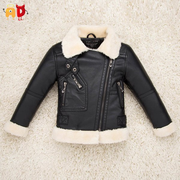 good quality Quality Boys Girls Leather Jackets PU Fleece Thickening Children's Coat Fur Collar Kid's Clothing Clothes Cool Design Winter