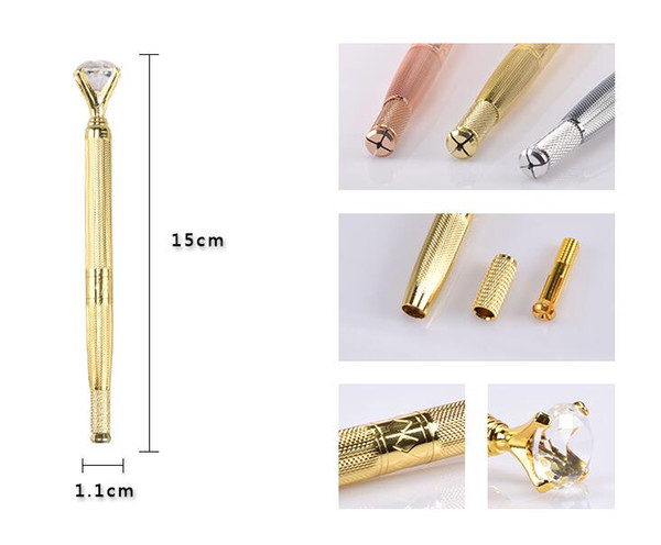 Augenbrauen Handbuch Stift Microblading Tattoo-Maschine für Permanent Make-up 3D Augenbrauen Lip Stickerei Munsu Tebori mit Kristalldiamanten