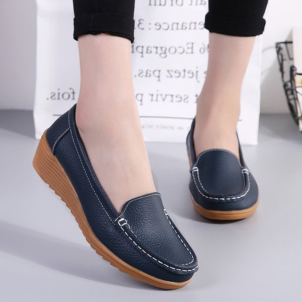 Women Flats 2019 Spring Summer Shoes Women Heels 4.3CM Genuine Leather Chaussures Femme Casual Loafers Ballet Flat Shoes Geox Shoes Cheap Shoes For