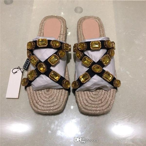 Kadın Kordon terlik Kristaller ile Düz Slaytlar, Straw Dokuma Taban Yaz Plaj Ayakkabıları Flashtrek Sneaker terlik Bayanlar için Boyut 34-42