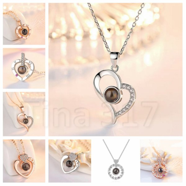 Circular commemorative necklace 24 style 100 languages I love you projection pendant The wedding gift valentine's day gift T2C5039