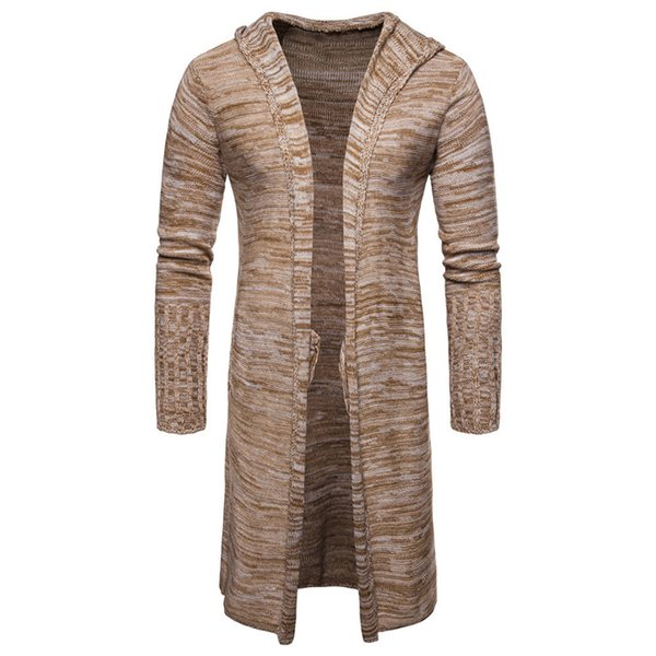 2019 Loose Fit Winter Sweater For Men Casual Fashion Mens Hooded Cloak Khaki Sweater Coat Cardigan Streetwear Free Shipping A397